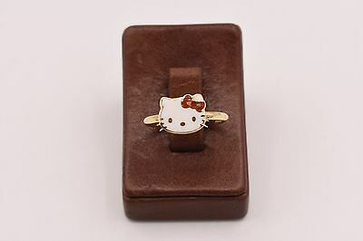 Childrens Kids Baby Girl Hello Kitty Red Enamel Real 14K Yellow Gold Ring Size 4