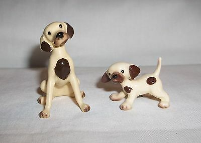 Set of 2 ma & baby Hound dog Miniature Ceramic Hagen Renaker Spotted dog