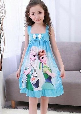 Baby Girls Kids Summer Princess Frozen Elsa Anna Sleeveless Cotton Sleepwear 2-7