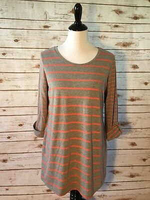Motherhood Maternity Oh Baby Striped Nightgown Rolled Sleeve Tee Size L Large