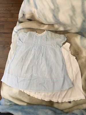 Vintage Cherubs Blue Embroidered Baby Dress / Underdress Sz Small (0-6 Months?)