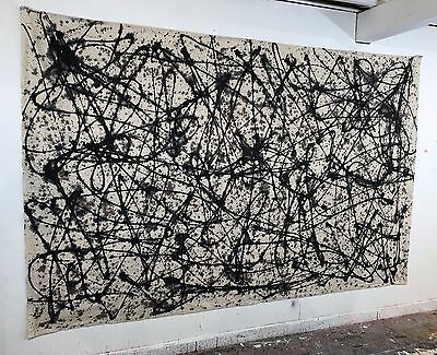 Large Abstract Painting JACKSON POLLOCK Style Original Oil On Canvas Modern Art