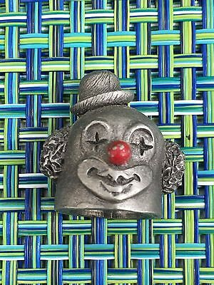 1980 Spoontiques Pewter Thimble  CLOWN HEAD RED NOSED