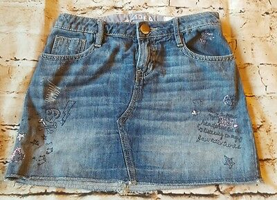 Gap Girls denim mini skirt kids 1969 Size 12  adjustable waistband embroidered