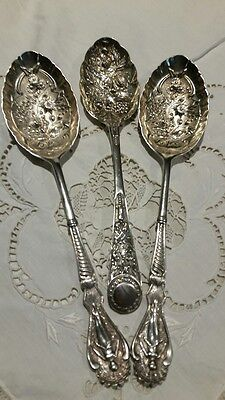 Antique Sterling Silver Berry Spoons