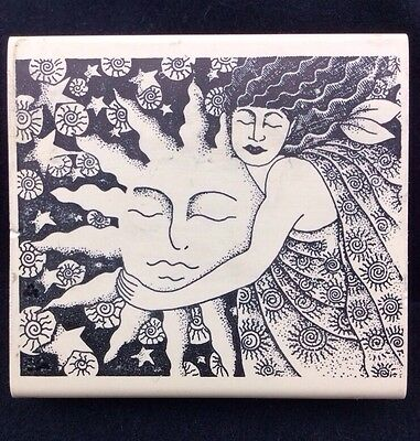STAMP OASIS 1998 Celestial SUN GODDESS Rubber STAMP Wood Mounted Stars Woman
