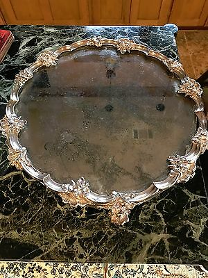 "Gorgeous Estate Silverplate Antique Mirrored Plateau 16"" Heavy"