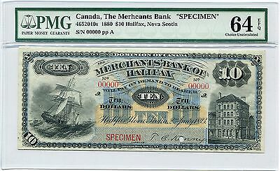 Canada Specimen $10 1893 Merchants Bank of Halifax, Pick S1185, PMG CU 64 EPQ