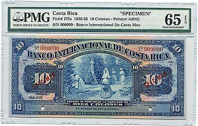 Costa Rica Specimen 10 Colones 1919-32, Pick 175, PMG Gem Uncirculated 65 EPQ