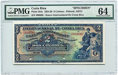 Costa Rica Specimen 2 Colones 1924-29, Pick 184, PMG Choice Uncirculated 64