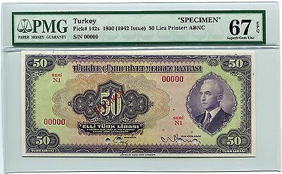 Turkey Specimen 50 Lira 1930 (1942), Pick 142, PMG Superb Gem Unc 67 EPQ