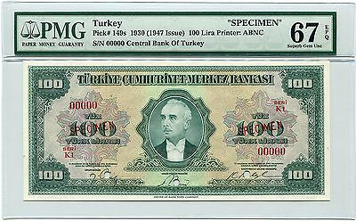 Turkey Specimen 100 Lira 1930 (1947), Pick 149, PMG Superb Gem Unc 67 EPQ