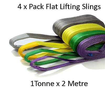 NEW 4 x PACK OF 1T X 2METRE AUS STANDARDS COMPLIANT FLAT LIFTING SLINGS  (RUR)