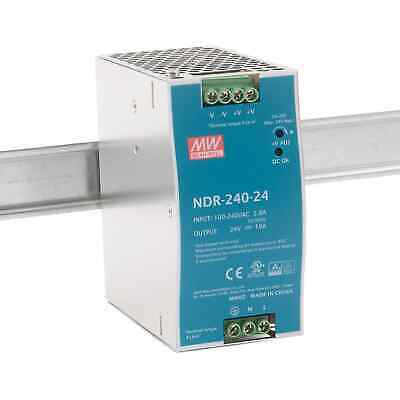 Mean Well NDR-240-24 240W Economical AC to DC DIN Rail Power Supply 24V DC 10A