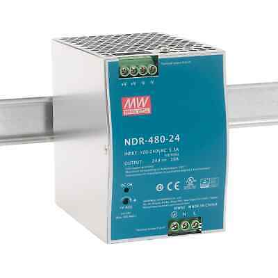 Mean Well NDR-480-24 480W Economical AC to DC DIN Rail Power Supply 24V DC 20A