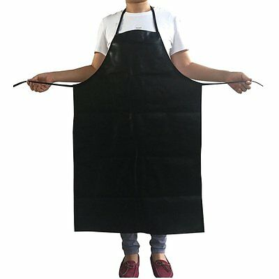"Extended PVC leather apron, waterproof, Oil proof, and weak Acid black 43""x29.5"""