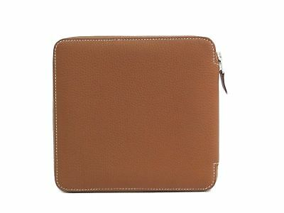 Auth HERMES CD Case Traurillon Clemence Leather Gold (BF301365)