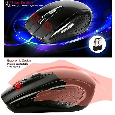 2.4GHz Wireless Cordless Optical Mouse Mice+USB 2.0 Receiver for PC Laptop Black