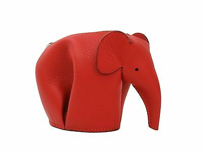 Auth LOEWE Elephant Coin Purse Smooth Calfskin Red 199.30JG73 (BF105558)