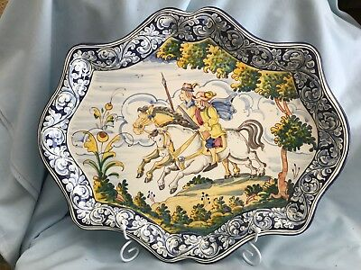 BANDEJA  ESTILO ANTIGUO A Pottery TRAY OLD STYLE Spanish Horses hunting