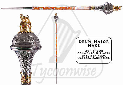 Drum Major Mace Staff Stave Lion Gold & Nickle Finish **NEW**