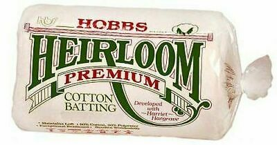 Hobbs Heirloom Premium Cotton Wadding/Batting - Multiple Sizes Available