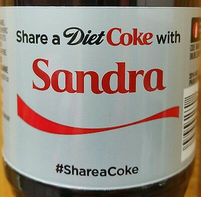 2015 Share A Diet Coke With Sandra Personalized Coca Cola Collectible Bottle