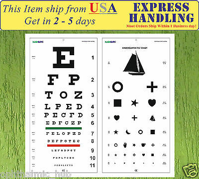 Snellen and Kindergarten Wall Eye Chart Size 22 x 11 Inch Combo Pack Ship fr USA