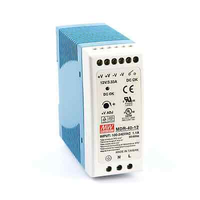 Mean Well MDR 40 Watt (40W) Miniature DIN Rail Power Supply 12V DC 3.3A