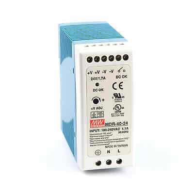 Mean Well MDR 40 Watt (40W) Miniature DIN Rail Power Supply 24V DC 1.7A