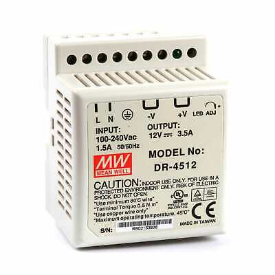 Mean Well DR 45 Watt (45W) DIN Rail Power Supply 12V DC 3.5A