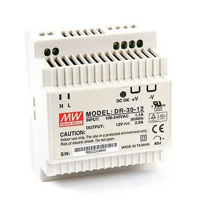 Mean Well DR 30 Watt (30W) DIN Rail Power Supply 12V DC 2.0A (2A)