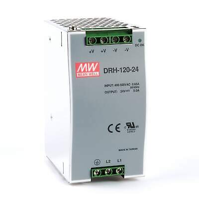 Mean Well DRH 120 Watt (120W) DIN Rail Power Supply 24V DC 5.0A (5A)