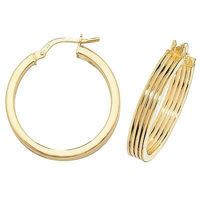 9CT HALLMARKED YELLOW GOLD DIAGONAL RIBBED WIDE HOOP EARRINGS IN 2 SIZES
