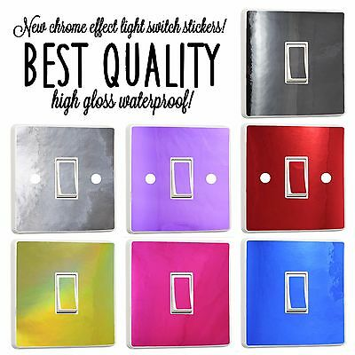 NEW Metallic Shiny Vinyl Light Switch Sticker Cover Decal Any Room Self Adhesive
