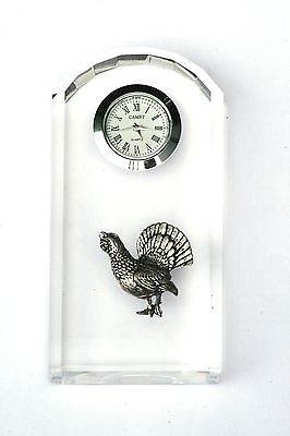 Capercaillie Design Glass Clock Bedside or Desk Top Wildlife Gift Boxed