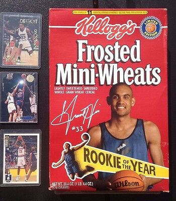 Kellogg's Cereal Box Grant Hill Basketball Rookie Of The Year 1995 & 3 Cards