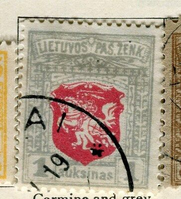 LITHUANIA;   1919 early issue fine used 1a. value