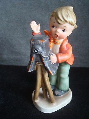 GOEBEL STYLE THE PHOTOGRAPHER FIGURINE BOY WITH CAMERA  - 6 Inches High