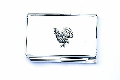 Capercaillie Metal Memo Notepad Card Holder FREE ENGRAVING Bird Gift