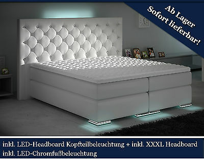 XXXL Boxspringbett Designer Boxspring WEISS LED 180x200 CHESTERFIELD