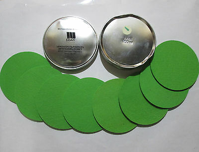 VFG Set of 8 Coasters in VFG metal Can Light GREEN Used & Dented