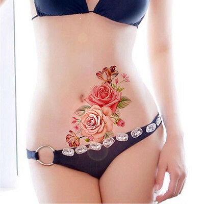 Pink Roses Flower Temporary Tattoos Stickers Body Art 3D Rose Tatoo Flora Temp