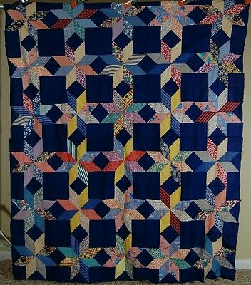 GORGEOUS Vintage 40's Touching Stars Patchwork Antique Quilt Top ~MINT CONDITION