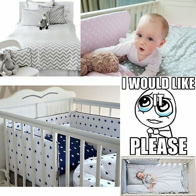 5 Pcs Baby Nursery Bedding Set GIRLS or BOYS Fit to COT BED 140x70cm 100% COTTON