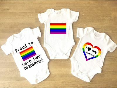 I Love My Mammies Baby Grow PACK OF 3 Gay Pride Flag Heart Lesbian Two Mams LGBT