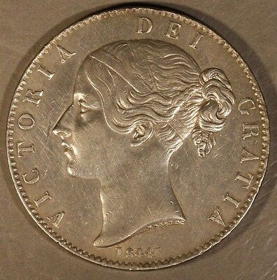 1844 Great Britain Silver Crown Slight Abrasion       ** Free U.S. Shipping**