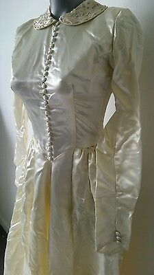 VTG 1940s Liquid Satin DESIGNER Wedding Dress Beaded Gown Button-Front Train