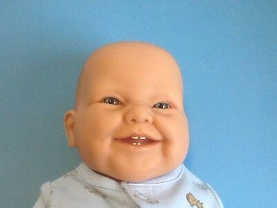 Berenguer Baby Doll- Smiling with 4 Teeth & Blue Eyes - All Vinyl -Cute! EUC