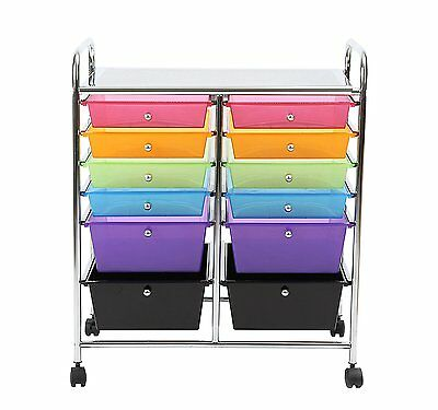 Finnhomy 12-Drawer Plastic Portable Mobile Organizer Rainbow, Multi-Purpose and